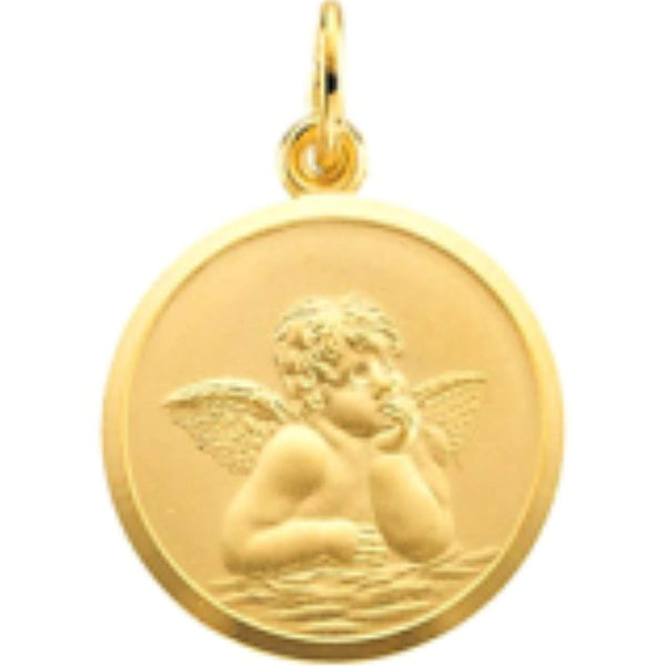 14k Yellow Gold Angel Medal with Beveled Edge Frame (16 MM)