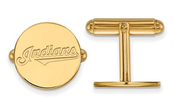 Gold-Plated Sterling Silver, MLB Cleveland Indians Cuff Links15MM