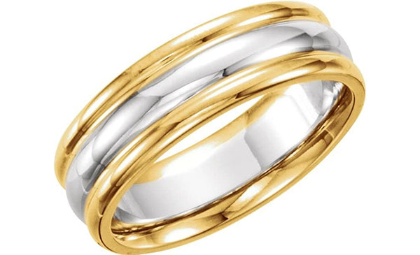 Two-Tone Comfort-Fit Band, 7mm 14k Yellow and White Gold