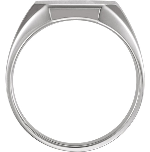 Men's Sterling Silver Brushed Finish Octagon Signet Ring,S9.5