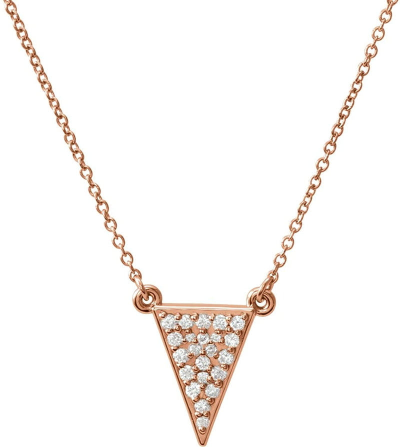 "Diamond Triangle Necklace, 14k Rose Gold, 16.5"" (.2 Ctw, GH Color, I1 Clarity)"