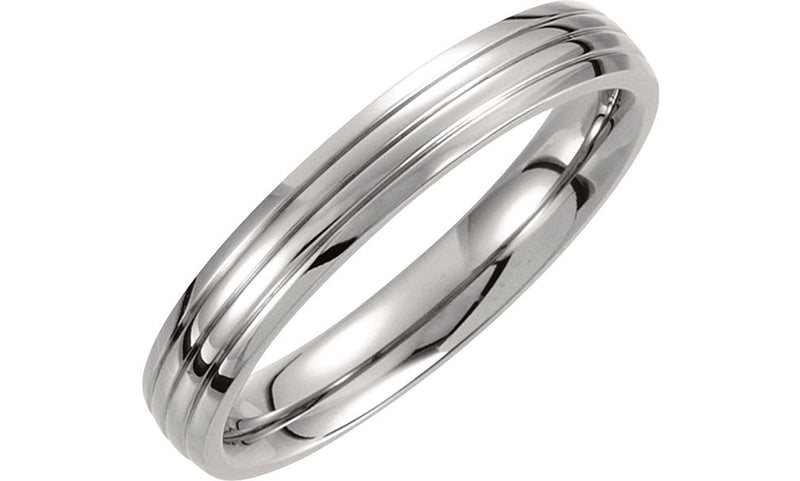 Titanium 4mm Triple Grooved Domed Band, Size 7