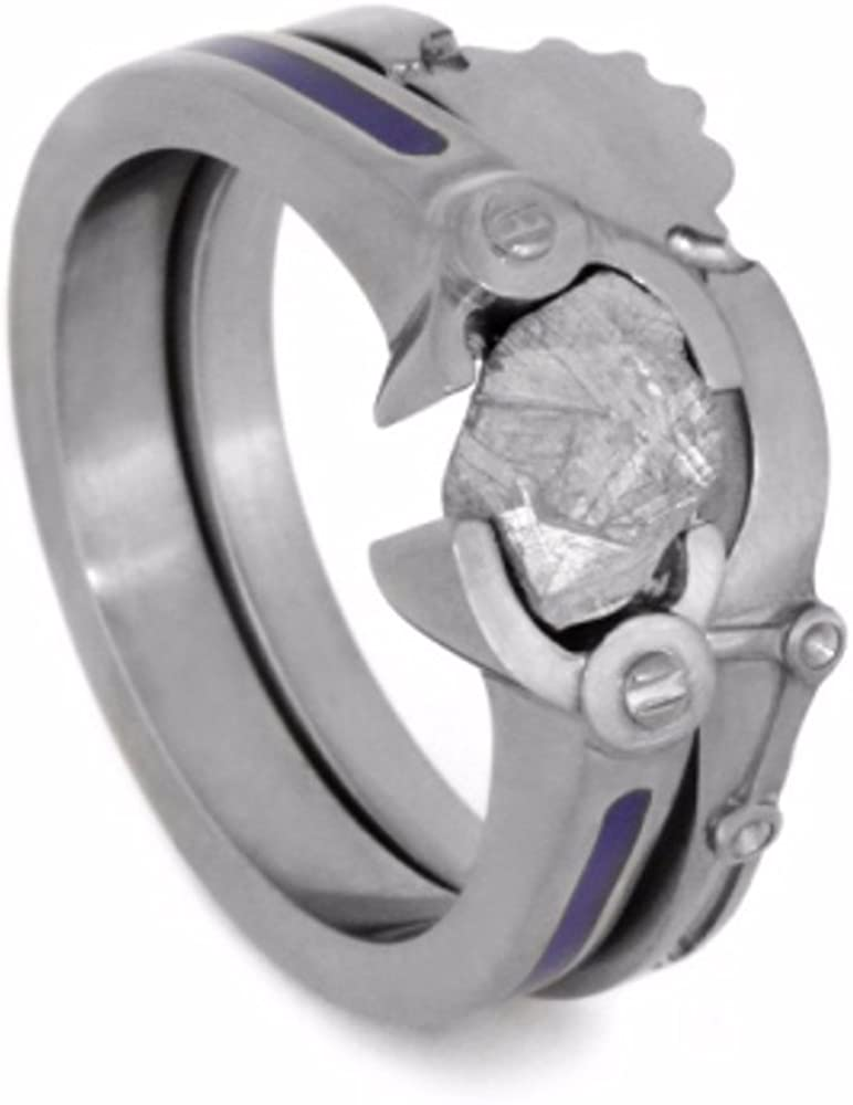 The Men's Jewelry Store (for HER) Meteorite Chunk, Blue Enamel Engagement Ring, Gear and Crank Steampunk Design Wedding Ring Set