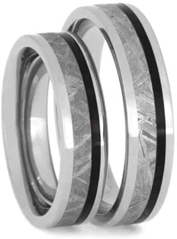 Gibeon Meteorite, African Blackwood 5mm Comfort-Fit Titanium His and Hers Wedding Band Set Size, M13-F8