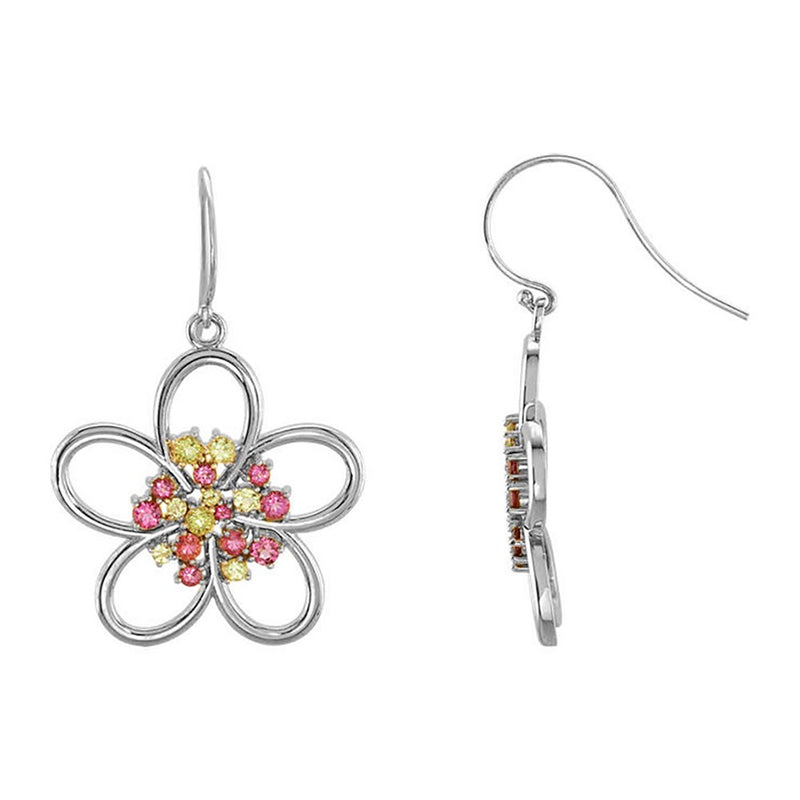 Pink Tourmaline and Arizona Peridot Flower Earrings, 14k White Gold (1.79 Cttw )