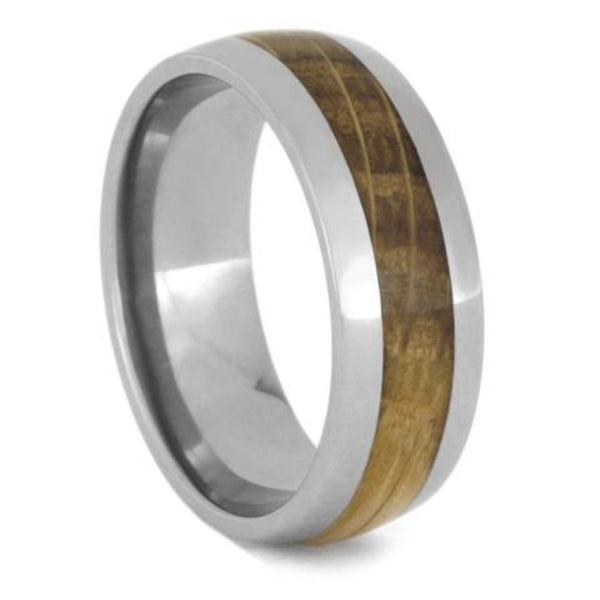 Whiskey Barrel Oak Wood 8mm Titanium Comfort-Fit Band