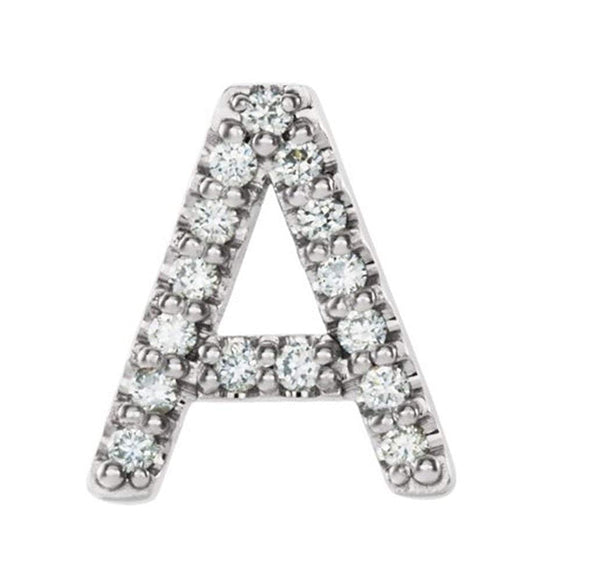 Sterling Silver Diamond Letter 'A' Initial Stud Earring (Single Earring) (.06 Ctw, GH Color, I1 Clarity)