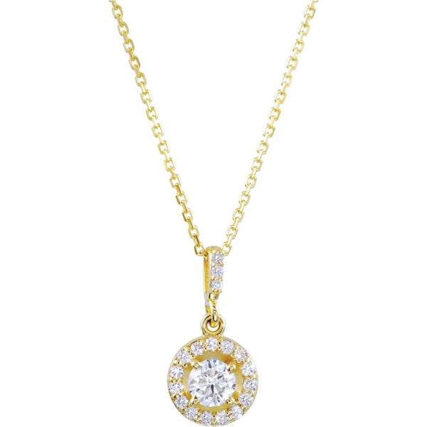 "Diamond Halo Round Pendant Necklace in 14k Yellow Gold, 18"" (1/2 Cttw)"