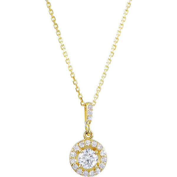 "Diamond Halo-style Necklace, 14k Yellow Gold, 18"" (1.25 Ctw, Color G-H, Clarity I1)"