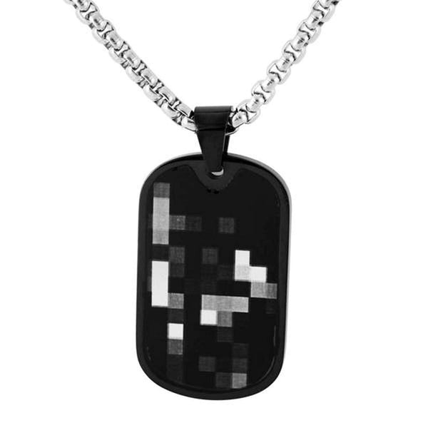 Men's Two-Tone Black Digital Camo Dog Tag Pendant Necklace, Stainless Steel, 24""