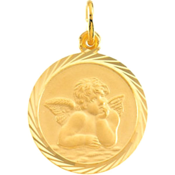14k Yellow Gold Round St. Raphael Medal with Wheat Frame (12 MM)