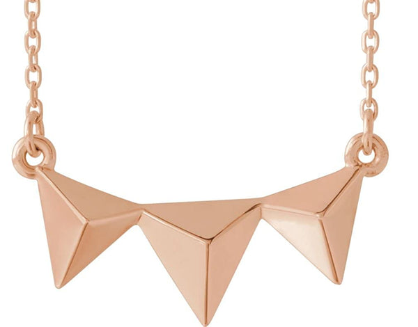 Geometric Pyramid Necklace, 14k Rose Gold 16-18""