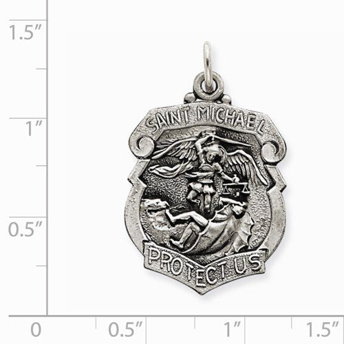 Sterling Silver St. Michael Badge Medal Charm Pendant (31X21 MM)