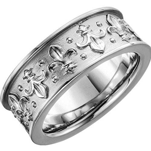 18k White Gold Fleur-de-lis 7.75mm Comfort Fit Band, Rhodium-Plated, Size 7