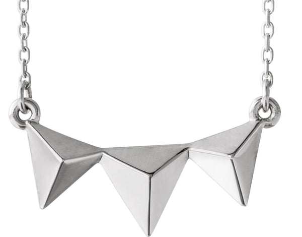 Geometric Pyramid Necklace, Sterling Silver 16-18""