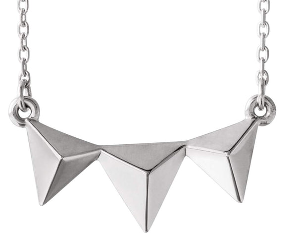 Platinum Geometric Pyramid Necklace, 16-18""