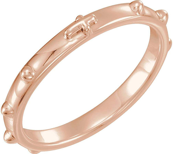 18k Rose Gold 2.50mm Rosary Ring, Size 11