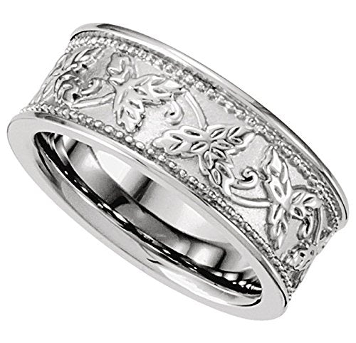Leaf Design 8.5mm Rhodium-Plated 14k White Gold Band