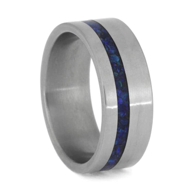 Crushed Synthetic Opal with Matte Titanium 8mm Comfort-Fit Band