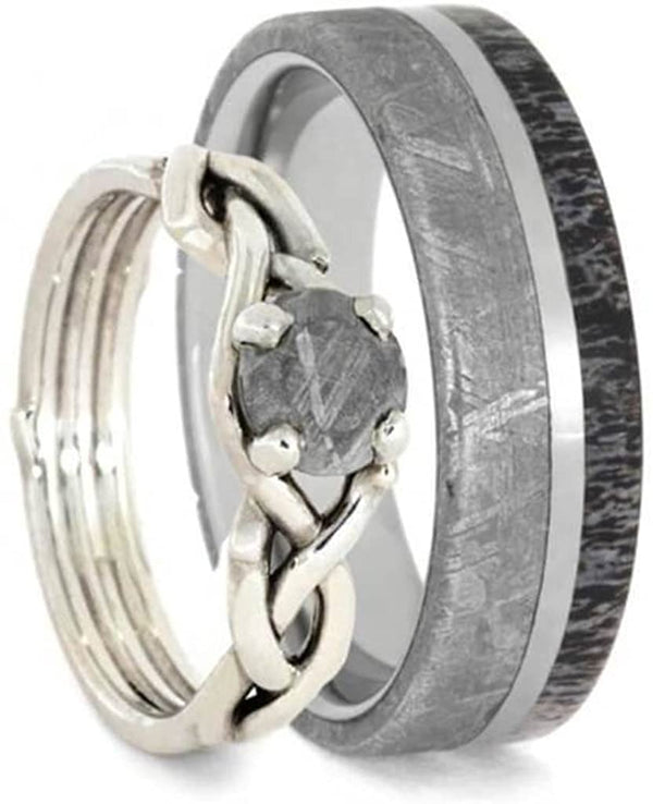 His and Hers Antler, Gibeon Meteorite Titanium Band and Sterling Silver Gibeon Meteorite Infinity RingSizes M10.5-F4