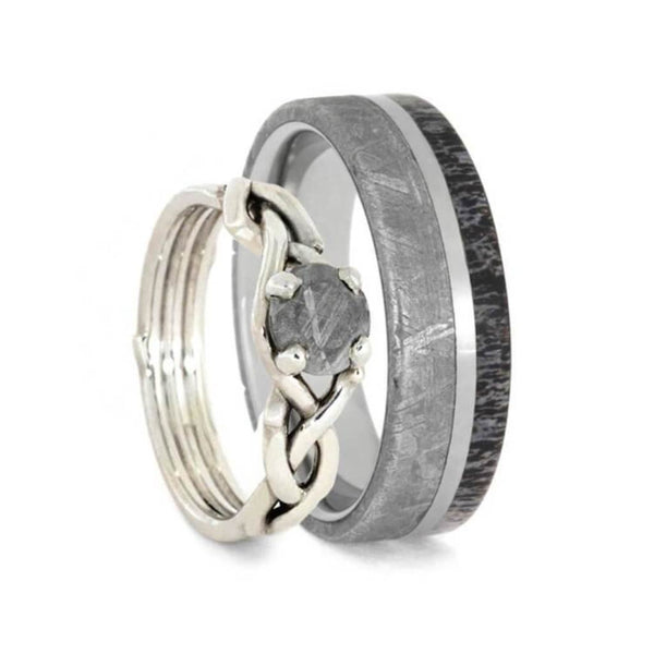 Gibeon Meteorite, Deer Antler, Sterling Silver Comfort-Fit Couples Wedding Band Set