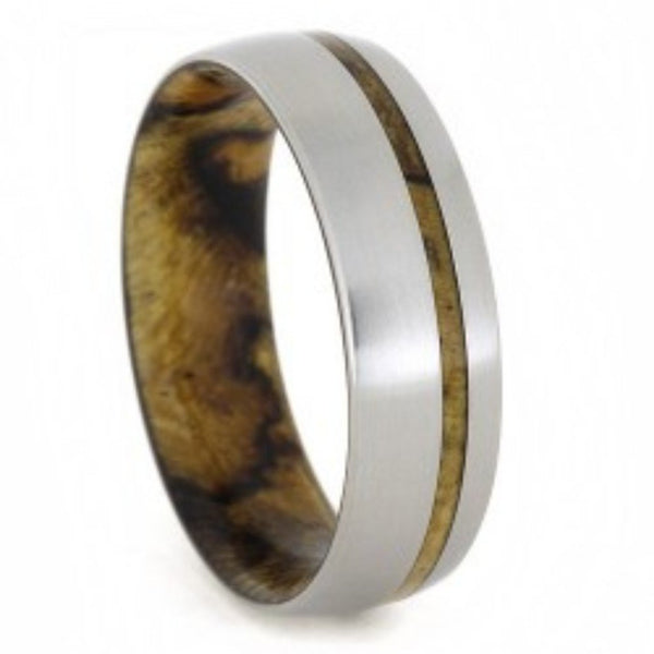 Yellow Sindora Wood 7mm Comfort-Fit Matte Titanium Wedding Band