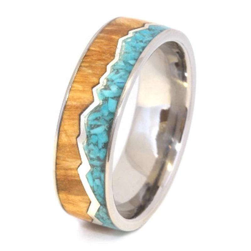 Turquoise, Black Ash Burl Wood, Sterling Silver Mountain Design 8mm Comfort-Fit Titanium Ring
