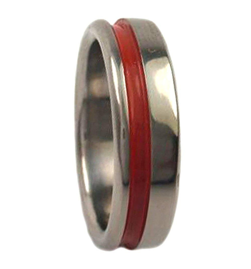 Red Grooved Pinstripe 5mm Comfort Fit Titanium Wedding Band, Size 10