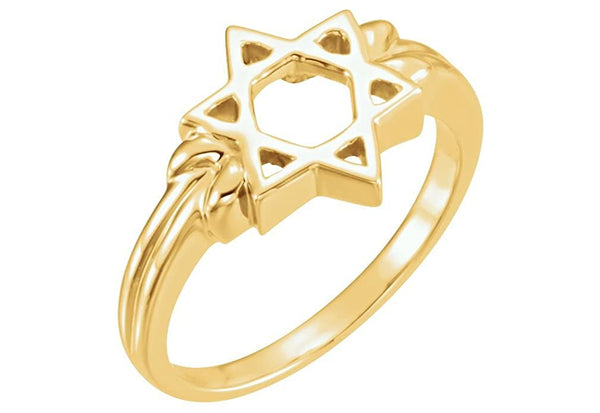 10K Yellow Gold Star of David Silhouette 12mm Ring, Semi-Polished, Size 6.75