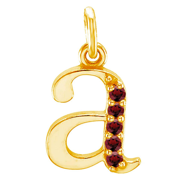 Petite Garnet Diamond Initial 'a' Lowercase Alphabet Letter 14k Yellow Gold Pendant