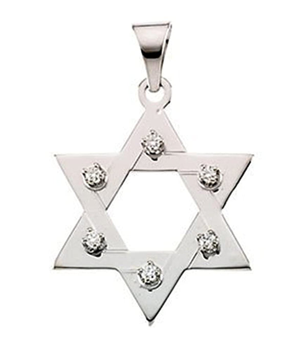 Diamond Star of David 14k White Gold Pendant