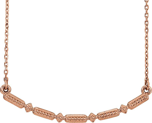 Petite Beaded Bar Necklace, 14k Rose Gold, 16-18""