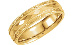 18k Yellow Gold Diamond-Cut 6mm Comfort-Fit Milgrain Band