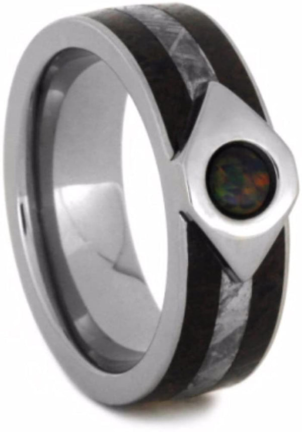 Created Black Fire Opal, Dinosaur Bone, Gibeon Meteorite 7mm Comfort-Fit Titanium Wedding Band, Size 9