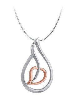 "Tear Drop Heart Pendant Necklace, Rhodium Plated Sterling Silver, 10k Rose Gold, 18"" to 22"""
