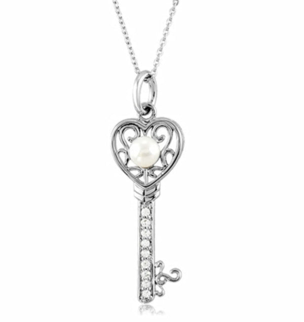 "White Freshwater Cultured Pearl, Pave CZ 'Key to Kindness' Rhodium Plate Sterling Silver Pendant Necklace, 18"" (6 MM)"