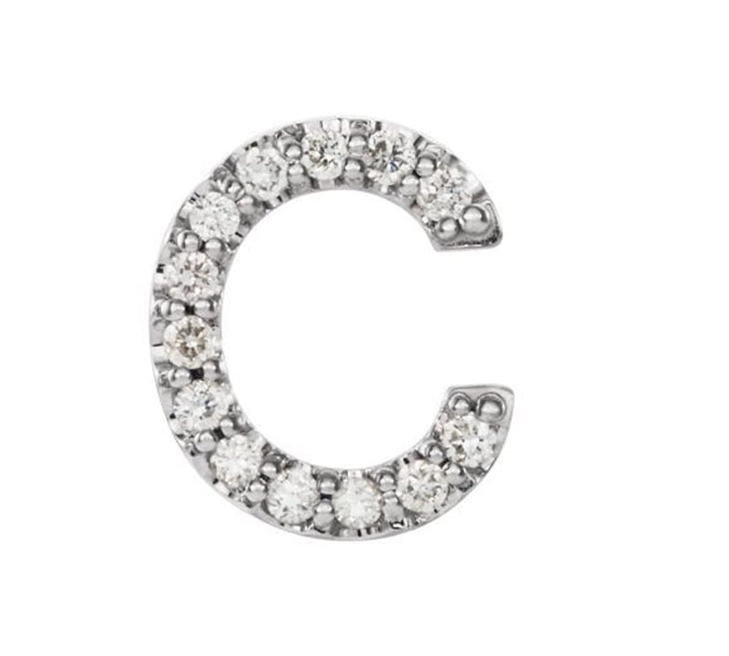 Sterling Silver Diamond Letter 'C' Initial Stud Earring (Single Earring) (.06 Ctw, GH Color, I1 Clarity)