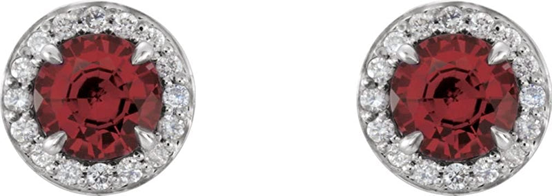 Mozambique Garnet and Diamond Halo-Style Earrings, Rhodium-Plated 14k White Gold (5 MM) (.16 Ctw, G-H Color, I1 Clarity)