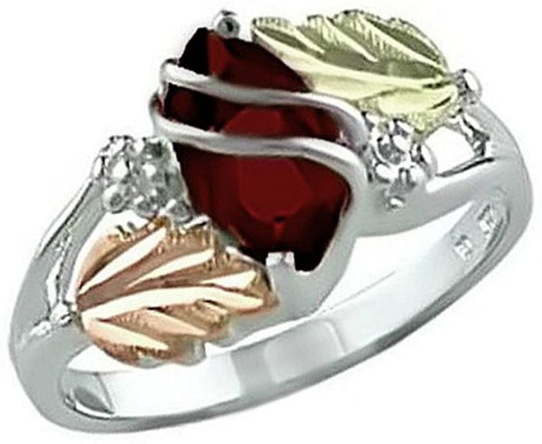 Marquise Created Garnet January Birthstone Ring, Sterling Silver, 12k Green and Rose Gold Black Hills Gold Motif 9