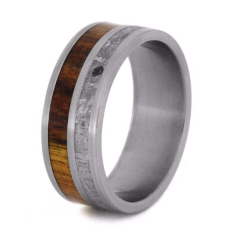 Gibeon Meteorite, Caribbean Rosewood 8mm Comfort-Fit Brushed Titanium Wedding Band