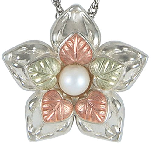 White Freshwater Cultured Pearl Flower Necklace, Sterling Silver, 12k Rose Gold, 12k Green Gold, 18""