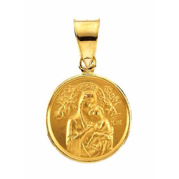 18k Yellow Gold Our Lady of Perpetual Help Medal (13 MM)