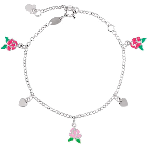 "Childrens Sterling Silver Beauty and the Beast Belle Charm Bracelet, Adjustable 5.5"" to 7.5"""
