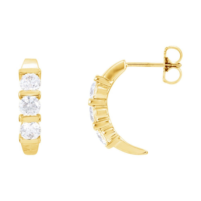 Three Diamond J-Hoop Earrings, 14k Yellow Gold (1 1/2 Ctw, Color GH, Clarity I1)