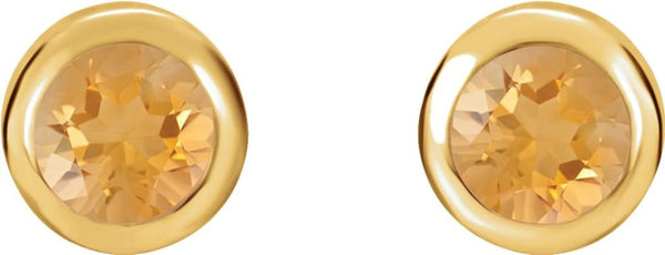 November Birthstone Stud Earrings, 14k Yellow Gold