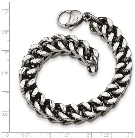 Men's Stainless Steel 10mm Spiga Wheat Chain Bracelet, 9.5 Inches