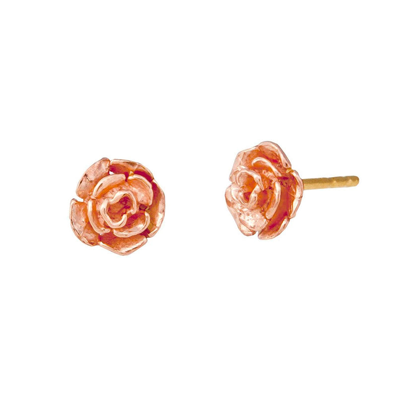 Petite 3D Rose Earrings, 10k Yellow Gold, 12k Green and Rose Gold Black Hills Gold Motif