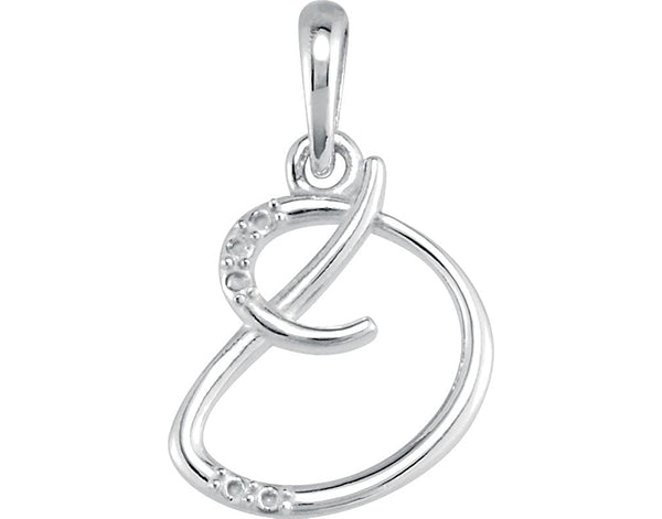 "5-Stone Diamond Letter 'D' Initial 14k White Gold Pendant Necklace, 18"" (.03 Cttw, GH, I1)"