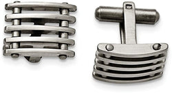 Stainless Steel Satin-Brushed, Toggle Back Cuff Links,13X19MM