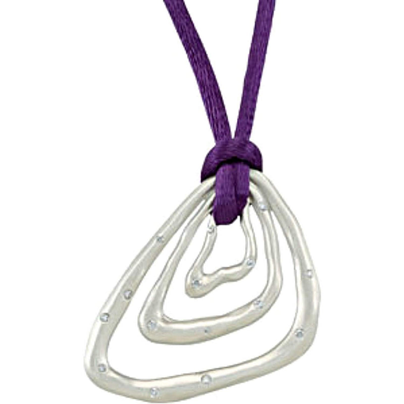 "Diamond Triangle Pendant in Sterling Silver with Purple Cord, 18"" (1/5 Cttw)"